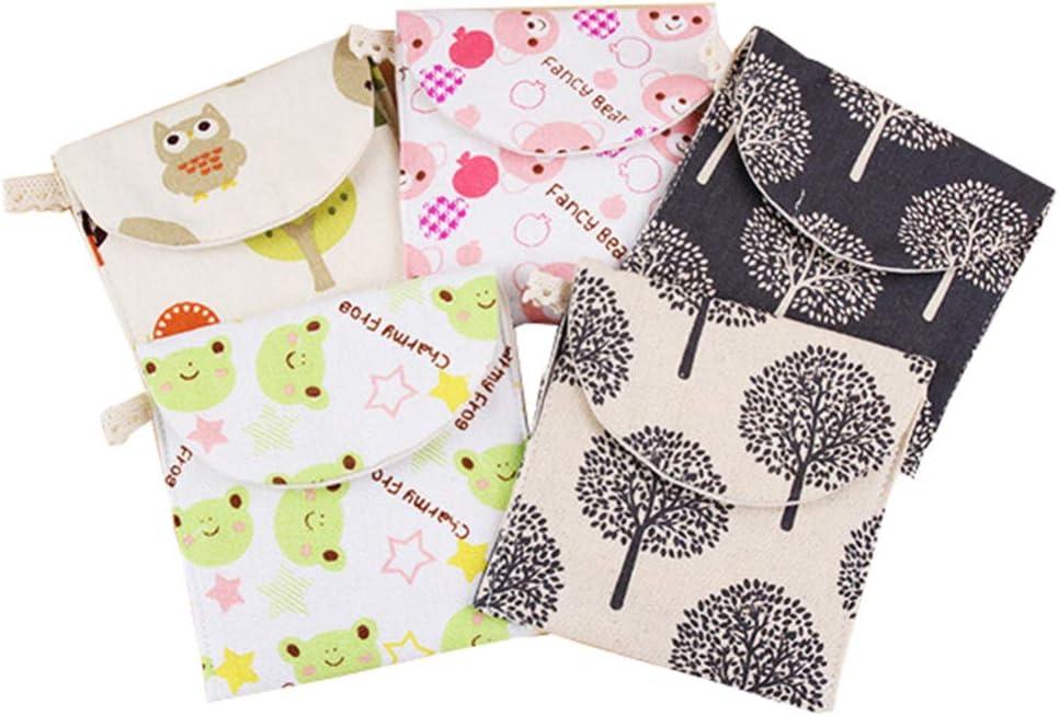 Cabilock 5 pezzi di tovaglioli sanitari in cotone custodia portatile borsa da viaggio organizer per donne ragazze motivo casuale
