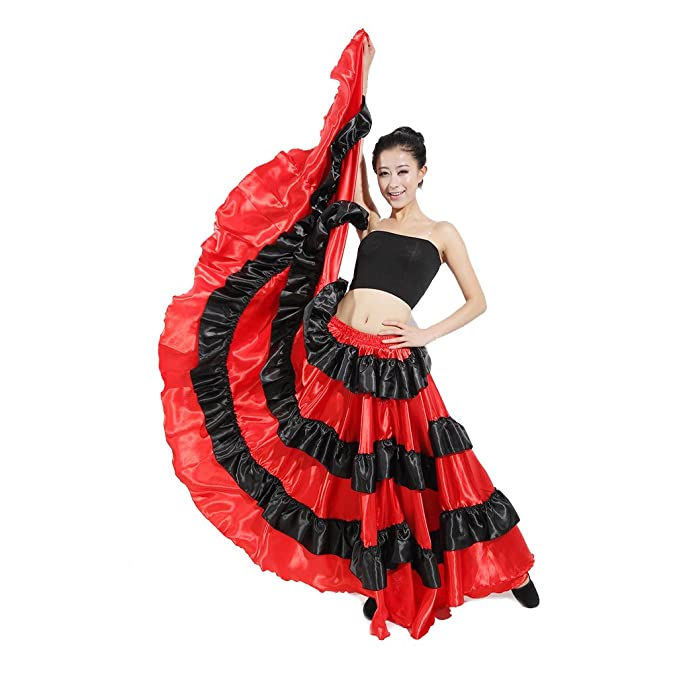 a8d4dd7bf86d Amazon.com  LOLANTA Belly Dance Skirt 360 Degree Circle Costume Spanish  Dances Bull Skirt Flamenco  Clothing