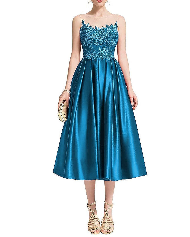 bluee Dreagel Women's Tea Length Satin Prom Dresses Appliques Evening Party Gowns