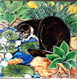 Continental Art Center BD-2223 8 by 8-Inch Cat by The Pond Ceramic Art Tile