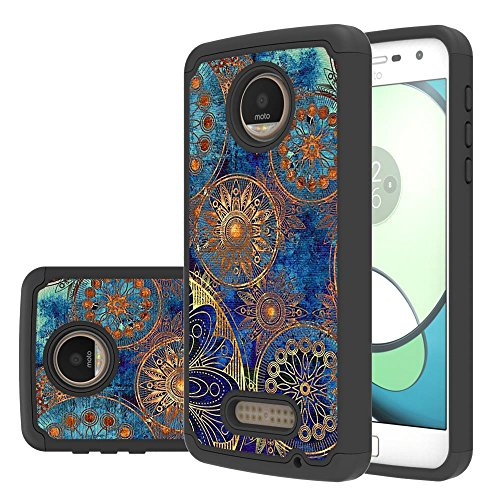 Moto Z Play Droid Case,LEEGU [Shock Absorption] Dual Layer Heavy Duty Protective Silicone Plastic Cover Case for Motorola Moto Z Play Droid - Gear Wheel