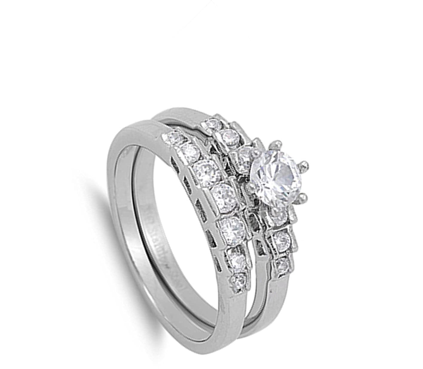 Womens Wedding Set Clear CZ Solitaire Ring 316L Stainless Steel Band Sizes 5-10