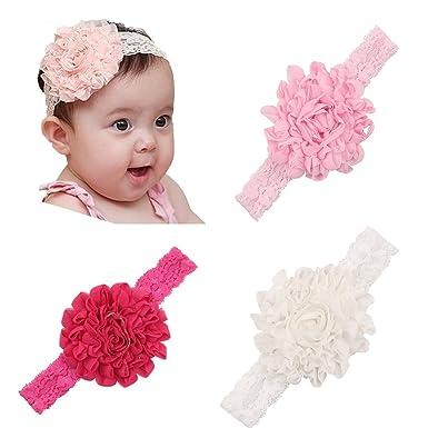 Amazon Com Baby Headband Lace Flower Headbands Baby Hair Band
