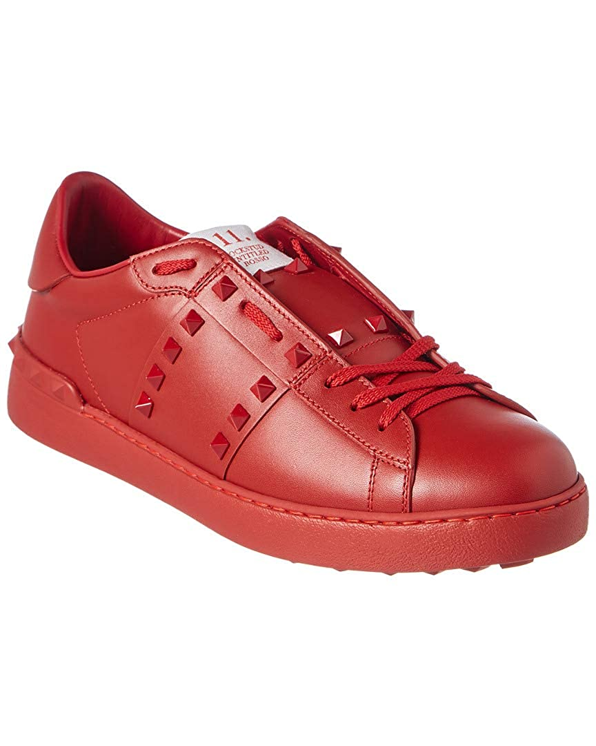 buy online b9675 585a9 Amazon.com | VALENTINO Studded Leather Sneaker, 43, Red ...
