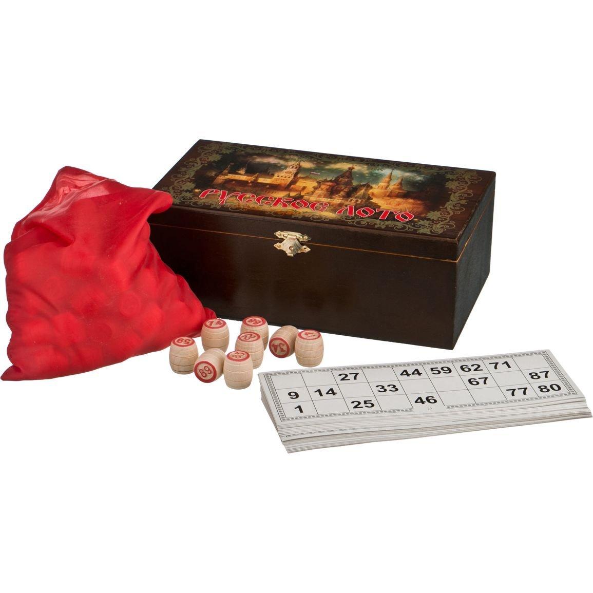 "Russian Lotto - Russian Bingo set with Wooden Barrels - in Wooden Gift Box - with '' The Night Kremlin "",26х16х10 см,28 - 318"