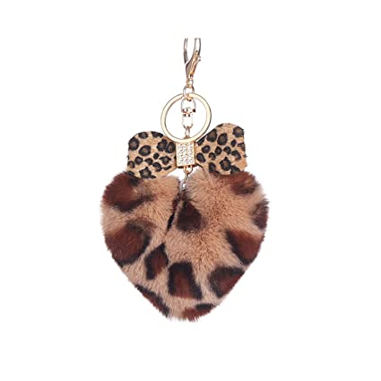 Amazon.com: Bowknot Women Key Chain Fur Ball Keychain Fake ...