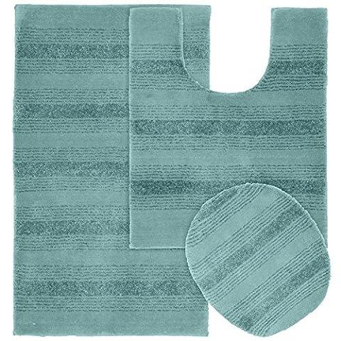 Garland Rug 3-Piece Essence Nylon Washable Bathroom Rug Set, Seafoam (Bathroom Rugs Contour)