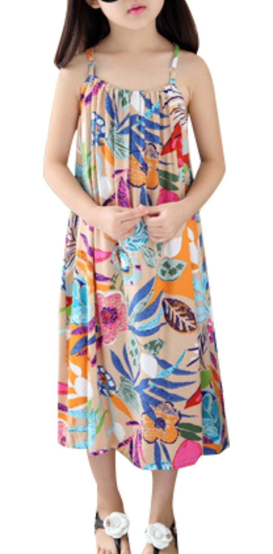 LISASTOR Baby Kid Girl Summer Dress Cute Print Sleeveless Beach Sundress (140cm For 5-6Years, Apricot)