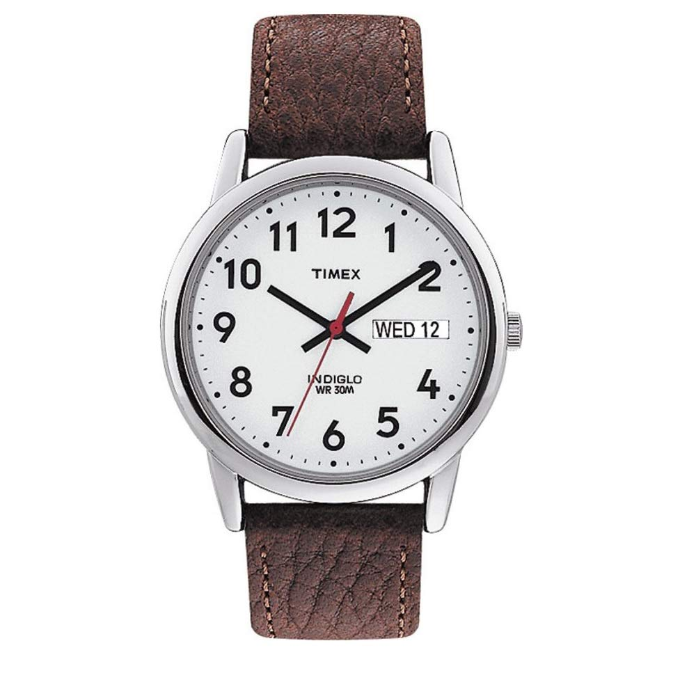 Timex Easy Reader Day-Date Leather Strap Watch