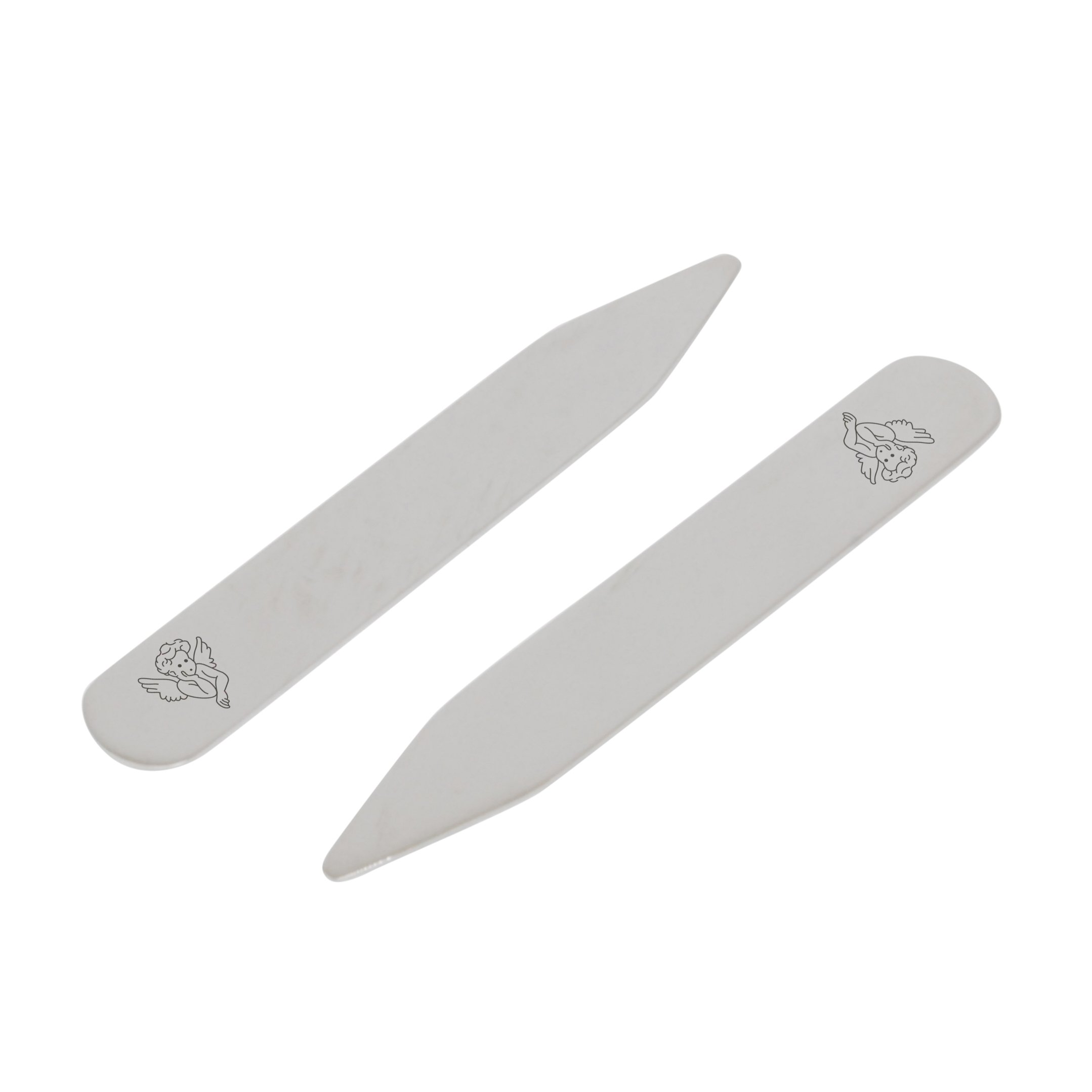 MODERN GOODS SHOP Stainless Steel Collar Stays With Laser Engraved Winged Cherub Design - 2.5 Inch Metal Collar Stiffeners - Made In USA