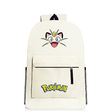 YOURNELO Cartoon Pokemon Rucksack Backpack Bookbag for Boys Girls (G Meowth  Beige) 1b86539e6d490