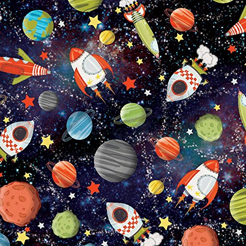 Stars Gift Wrap - Rocket Ship Planets Galaxy Outerspace Gift Wrapping Paper - 15 Foot Roll