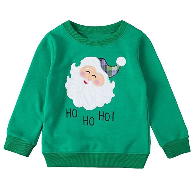 toddler baby girl boy christmas sweater cotton pullover sweatshirt green 7