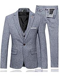 De los hombres Plaid Modern Fit 3-Piece Suit Blazer chamarra Tux pantalones y chaleco
