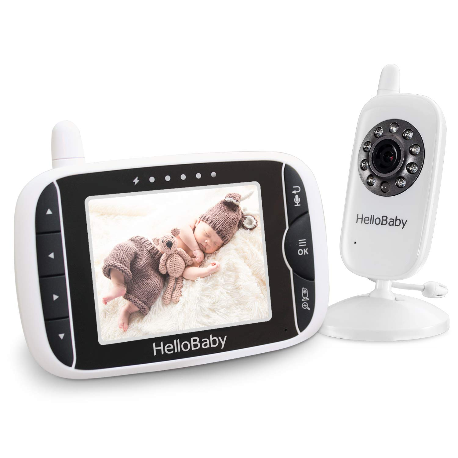 HelloBaby Video Baby Monitor with Night Vision & Temperature Sensor, Two Way Talkback System (HB24)