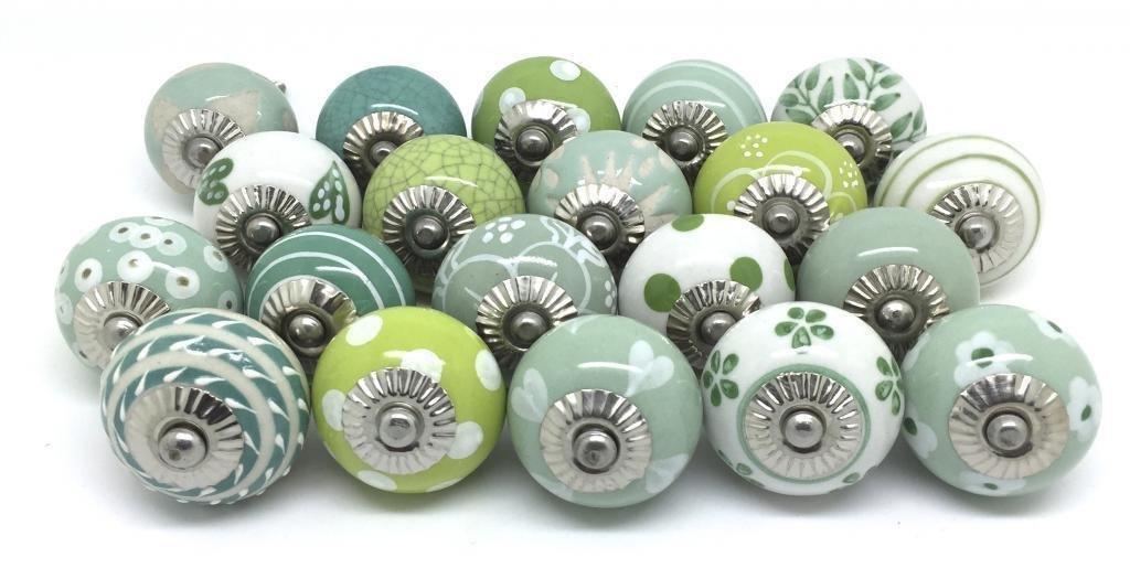 10 Dull Greenish Ceramic Knobs Handpainted Ceramic Door Knobs Kitchen Cabinet Drawer Puller Pulls Furniture Cabinet Knobs zoya/'s
