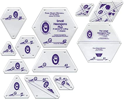 Small Hexagon Set Perfect Patchwork Template Set G Package of Nine