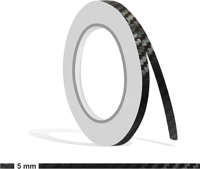 Siviwonder Zierstreifen 10m Carbon Schwarz 5mm Glanz Zier Streifen Folie Aufkleber Für Auto Boot Jetski Modellbau Vinyl Dekorstreifen Auto