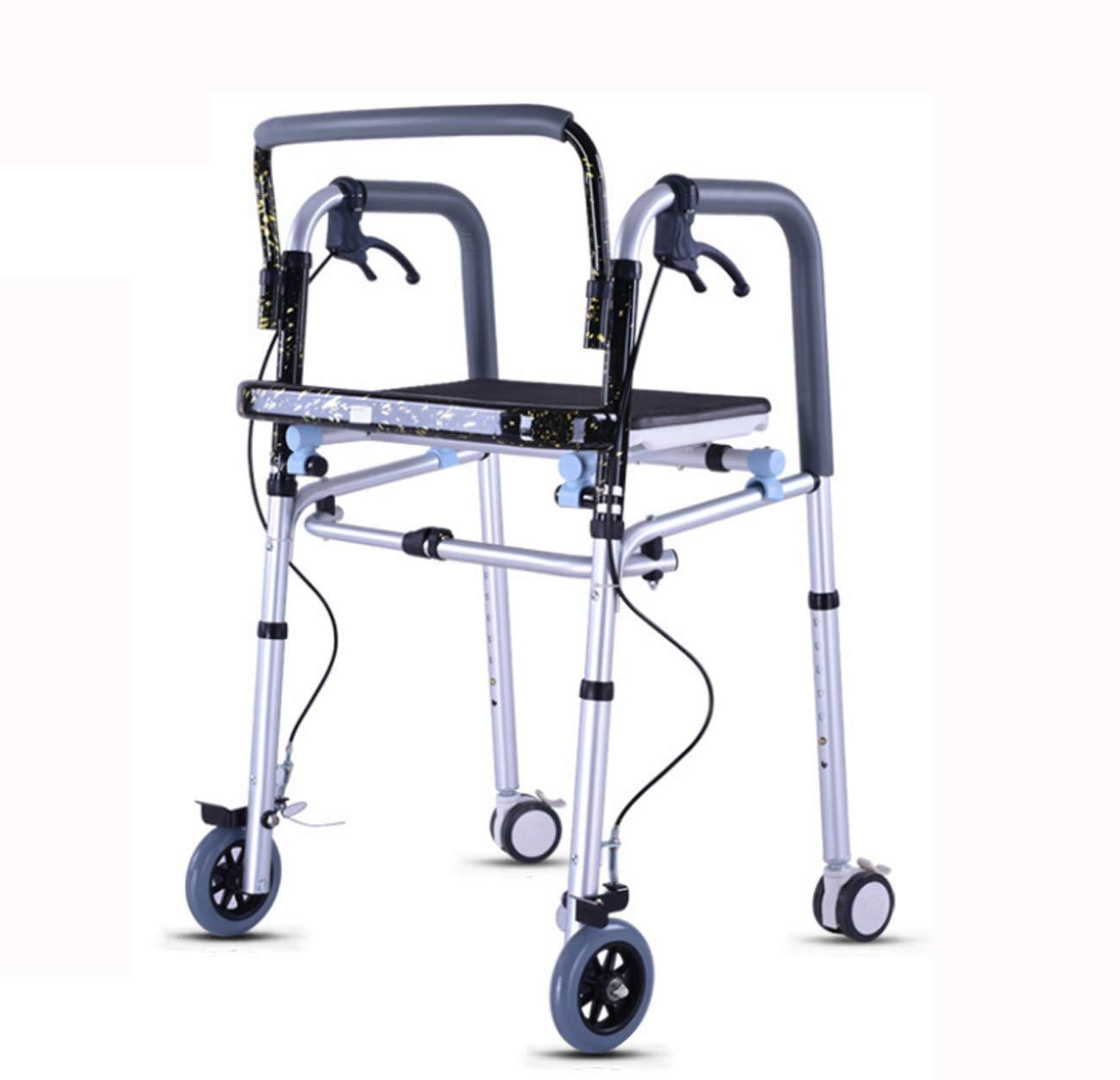 Tochange Allrad-Rollator-Gehhilfe, Klapprahmen mit Gepolstertem Sitz + Abschließbare Bremsen