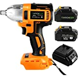"""COOCHEER Impact Wrench HS8611 20V/320 N·m High Torque Cordless Power Electric Impact Wrench Drill with Dentent Pin Anvil , 1/2"""" + 2 Lithium Ion Batteries"""