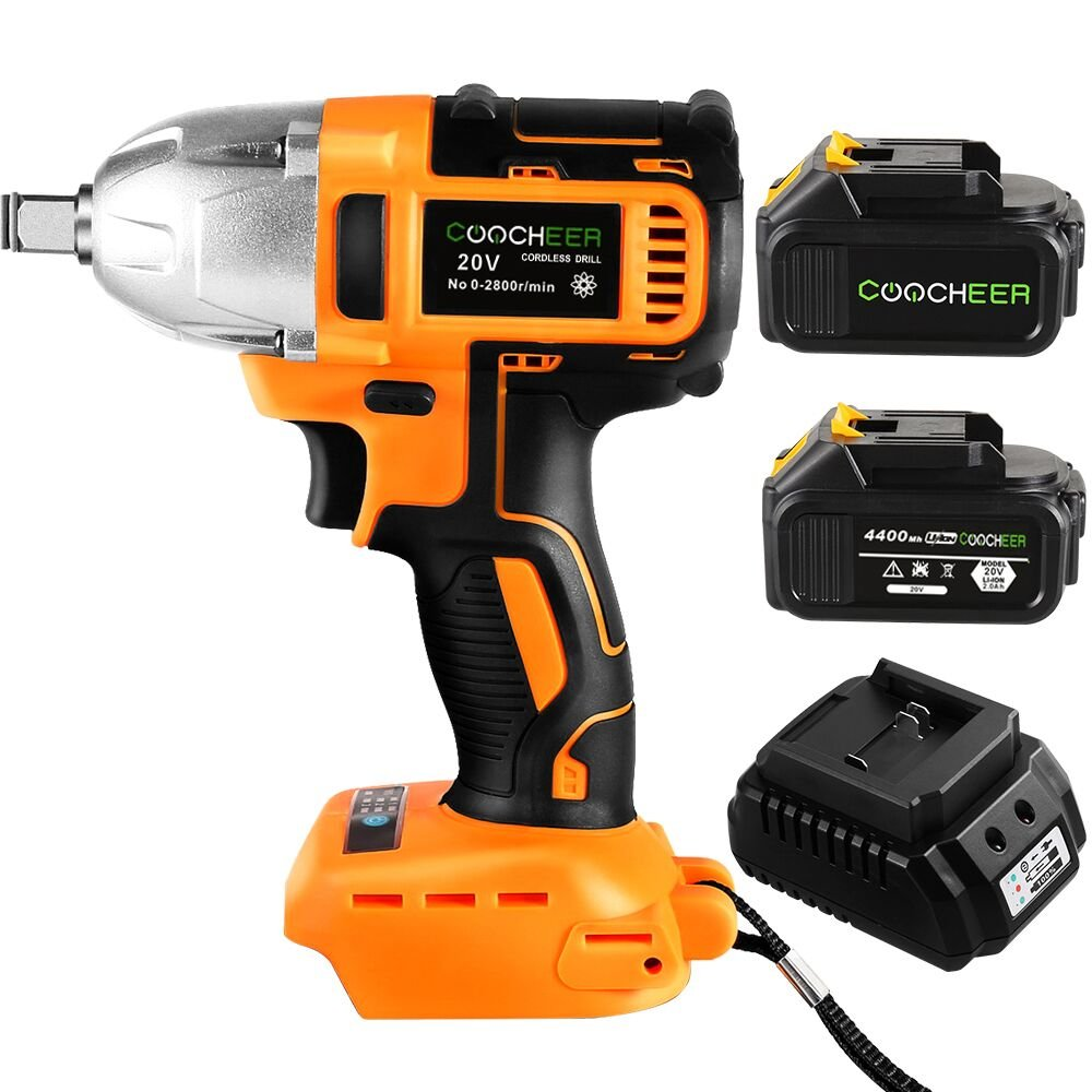 COOCHEER Impact Wrench HS8611 20V/320 N·m High Torque Cordless Power Electric Impact Wrench Drill with Dentent Pin Anvil , 1/2'' + 2 Lithium Ion Batteries