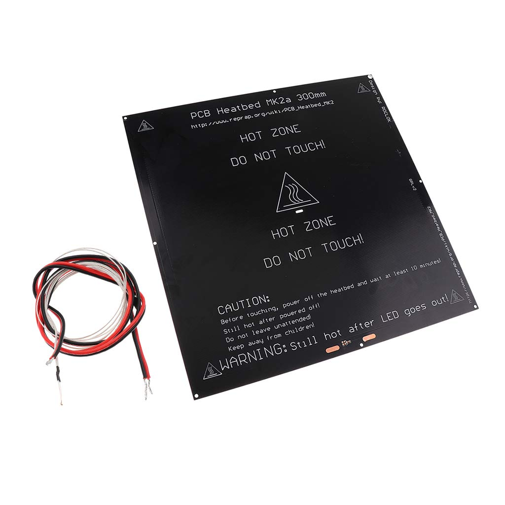 kesoto Aluminum 24V Heat Bed Heated Bed Platform 300X300X3mm PCB Hot Plate Flexible 3D Printer Heatbed Cover for MK3