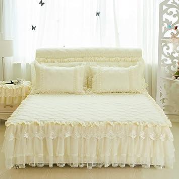 LAOSXNZHE Falda de Cama Colcha Encaje Hoja del Acolchado Color sólido Volantes-E 200x220cm(79x87inch) Version B: Amazon.es: Hogar