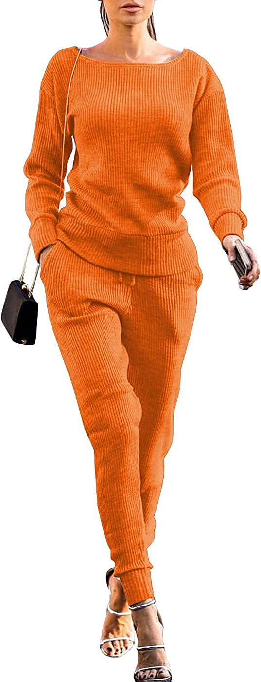 VNVNE Womens Fall Rib-Knit Pullover Sweater Top & Long Pants Set 2 Piece Outfits Tracksuit