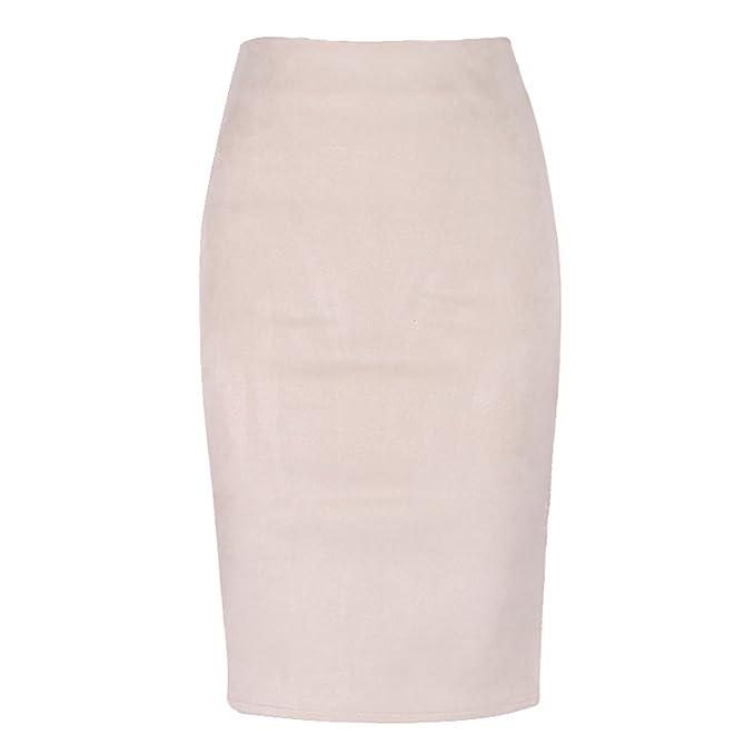 8706e87e81 Amazon.com: Sexy Multi Color Suede Midi Pencil Skirt Women Fashion Elastic High  Waist Office Lady Bodycon Skirts: Clothing