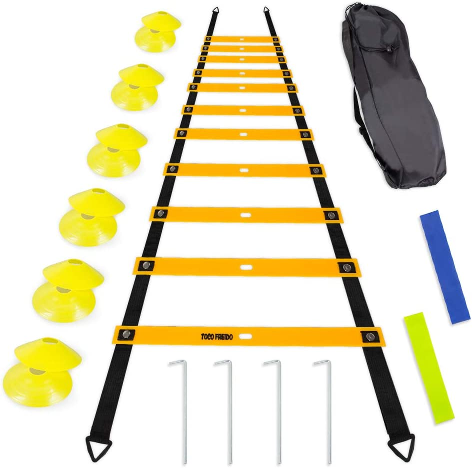 TOCO FERIDO 20ft Agility Ladder Set with 12 Rungs, 12 Sports Disc Cones, 4 Metal Pegs, 2 Resistance Bands, 1 Carry Bag – for Soccer, Football, Speed Training and Agility Training
