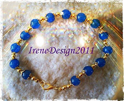 Blue Jade & Gold Bracelet