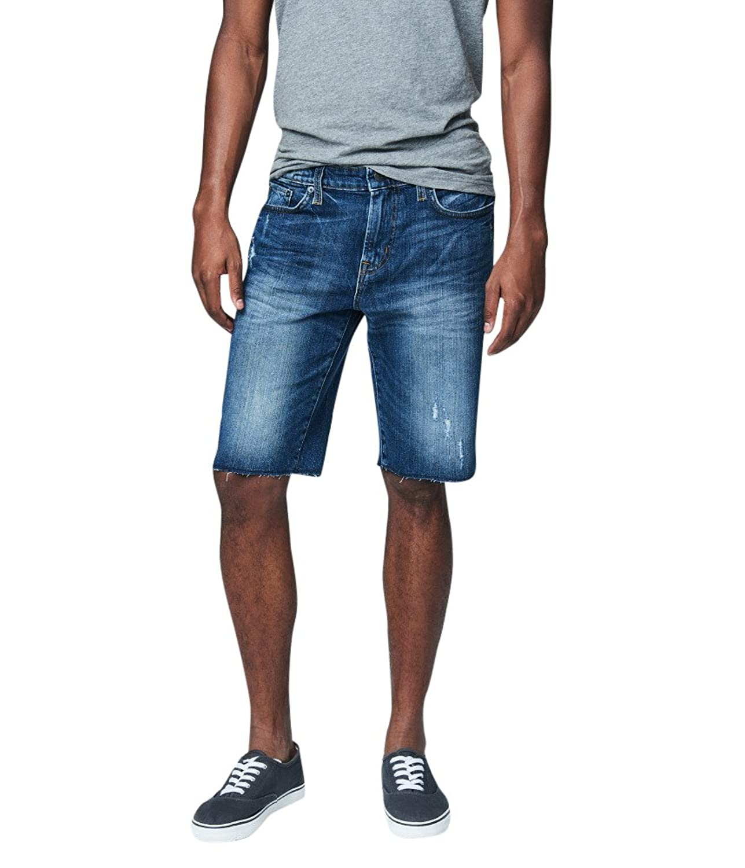 Aeropostale Men's Medium Wash Destroyed Reflex Denim Cutoff Shorts
