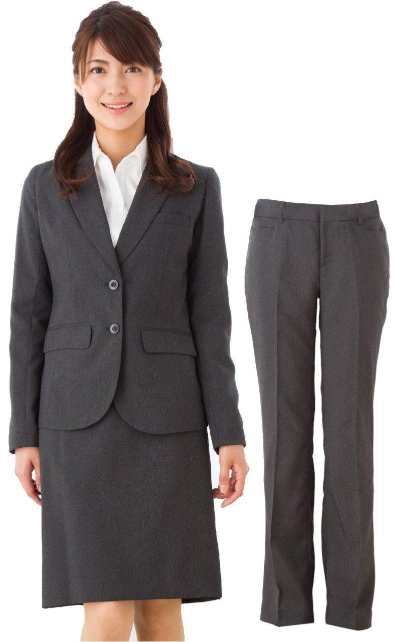 (アッドルージュ) スーツ レディース 3点セット タイトスカート パンツ ジャケット 洗える 洗濯 消臭抗菌【j5001-5002】 B00R4ES962 13号ABR|【B/2つボタン】グレー 【B/2つボタン】グレー 13号ABR