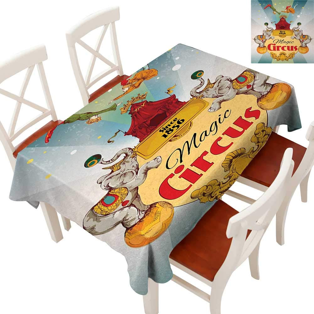"""WinfreyDecor Tablecloth Heavy Weight for Kitchen Dinning Tabletop Decoration Magic Circus Tent Show Announcement Vintage Style Aerialist Acrobat Multicolor 60"""" × 102"""""""