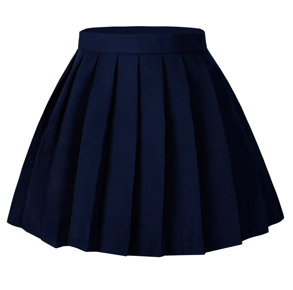 Tremour Women's School High Waist Pleated Skirts Solid Color Wear(2XL,Dark Blue)