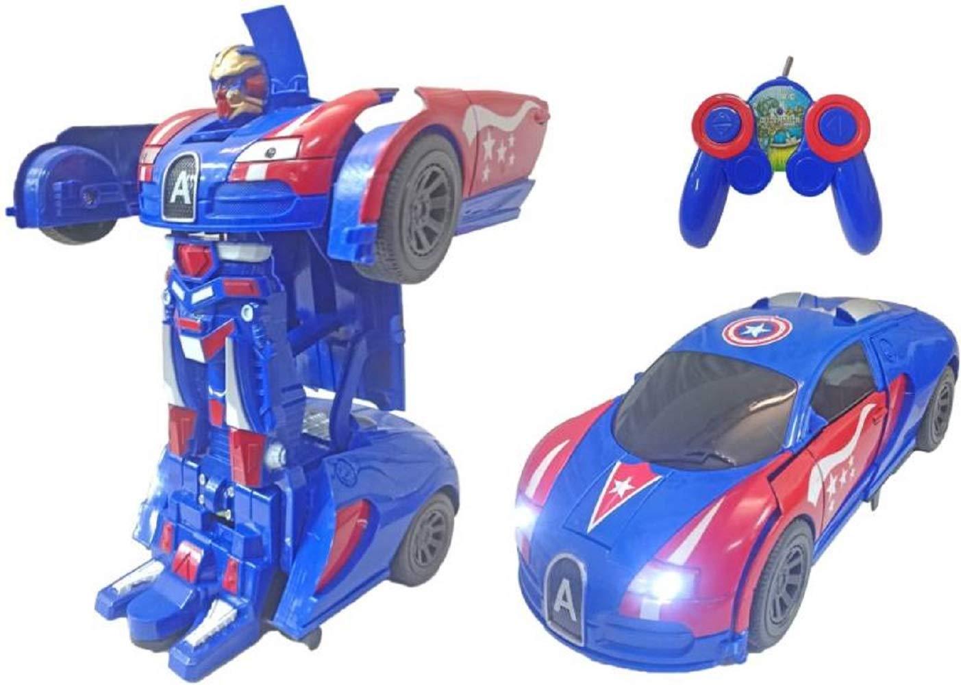 NEW CAPTAIN AMERICA TRANSFORMERS ROBOT REMOTE CONTROL CAR  BOYS AVENGER TOY