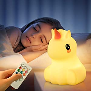 Cute Unicorn Night Light for Kids,LED Nursery Portable Color Changing Nightlight,USB Rechargeable Timer Lamps with Remote,Glow Soft Silicone Animal Gift for Baby Toddler Boys Girls Bedroom Decor