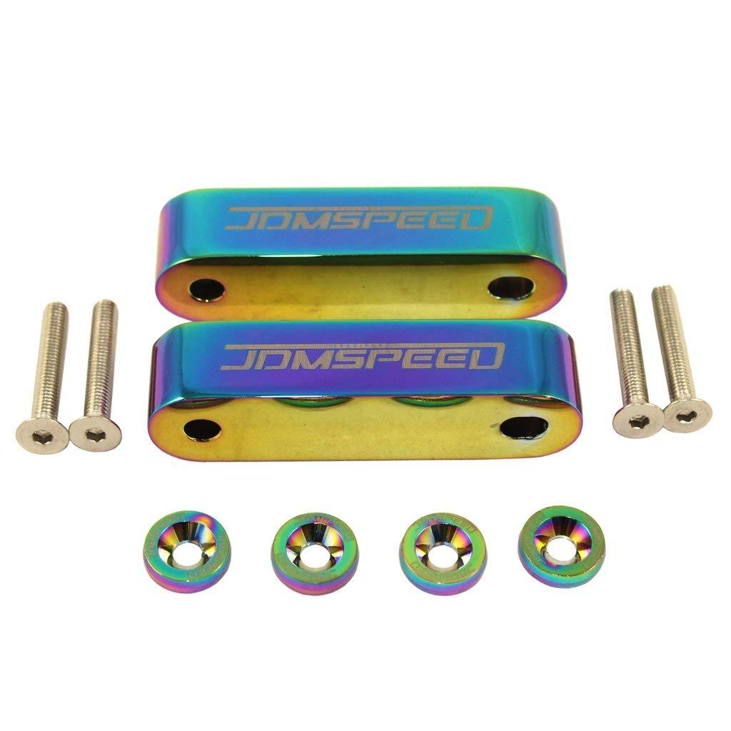 Washers Bolts JDMSPEED Neo Chrome CNC Billet 3//4 Hood Vent Spacer Riser Kit
