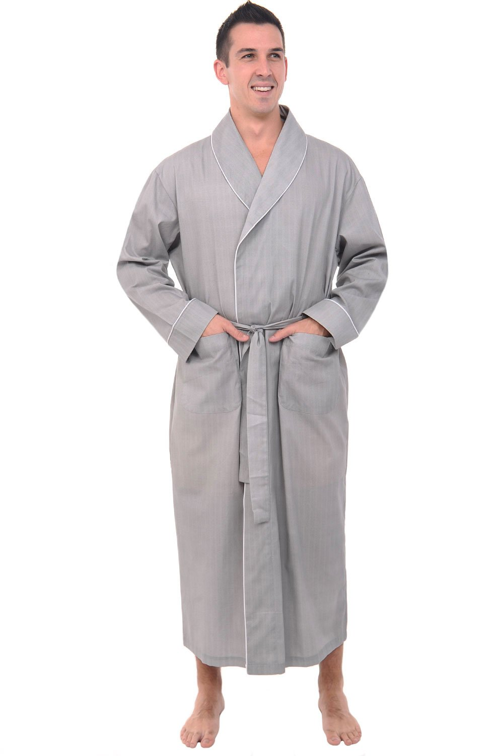 Alexander Del Rossa Mens Cotton Robe, Lightweight Woven Bathrobe, XL Grey Striped (A0715R61XL)
