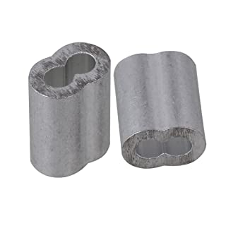 CNBTR Virolas dobles de aluminio plateado, bucle de prensado, clip, mangas, abrazaderas para cable M2,5, 2,5mm, 100unidades