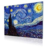 """Alonline Art - Starry Night Vincent Van Gogh PRINT On CANVAS (Synthetic, UNFRAMED Unmounted) 41""""x31"""" - 105x79cm Canvas For Home Decor Oil Painting Printed On Canvas Canvas For Kitchen Artwork"""