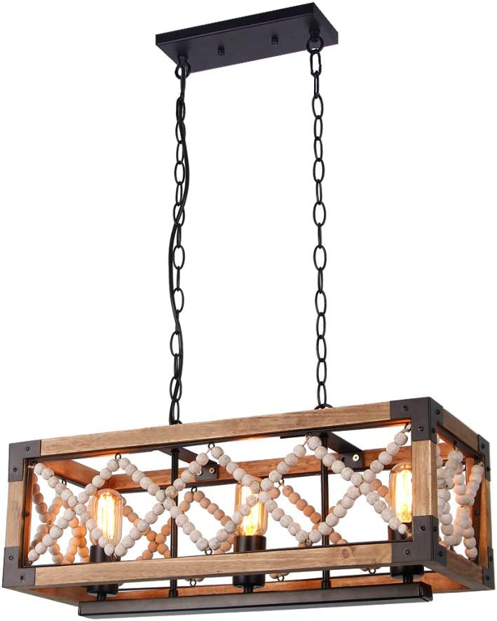 Giluta Rustic Wood Bead Chandelier Kitchen Island Pendant Light Fixture, Farmhouse Style Rectangle Chandelier 3 Lights for Living Room Dining Room Bedroom, Brown C0043