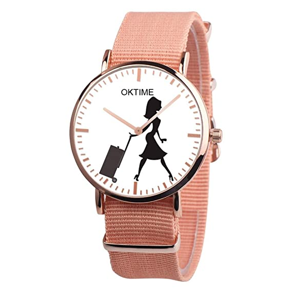 Fashion Watches for women girls Casual Canvas band Watch with a Beauty suitcase pattern,GINELO