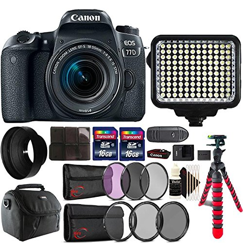 Canon EOS 77D 24.2MP DSLR Camera + 18-55mm + 58mm Filter Kit + UV CPL ND Filter Kit + Rubber Hood + Two 16GB Memory Card + Holder + Reader + Led Video Light + Case + Flexible Tripod + 3pc Cleaning Kit