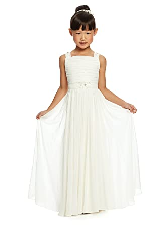 6454d87bf1a Alivedre Ruched Chiffon Junior Flower Girl Dress Girls Wedding Party Dress  US 4Ivory