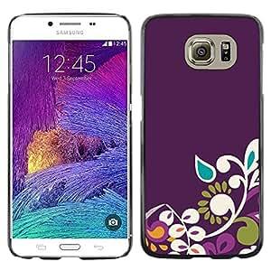 LECELL--Funda protectora / Cubierta / Piel For Samsung Galaxy S6 SM-G920 -- Floral Pattern Tear Raindrop --