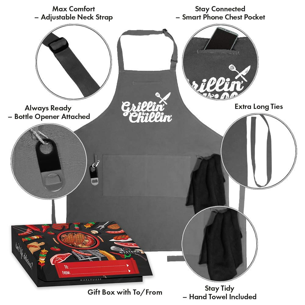 West End Warehouse Chef Apron for Men   Cooking Apron   Funny Apron   BBQ Apron   3 Pockets   Opener, Towel & Gift Box Included   Gray   100% Cotton   Durable Professional Quality by West End Warehouse (Image #2)