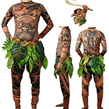 Maui Men Tattoo T-Shirt/Pants Set Tribal Imprint Tee & Trousers Moana Tattoo 2 Pieces Celebration Costume Party Wearing Halloween Cosplay, Comfy Long Sleeve, Adult Unisex L XL, Brown