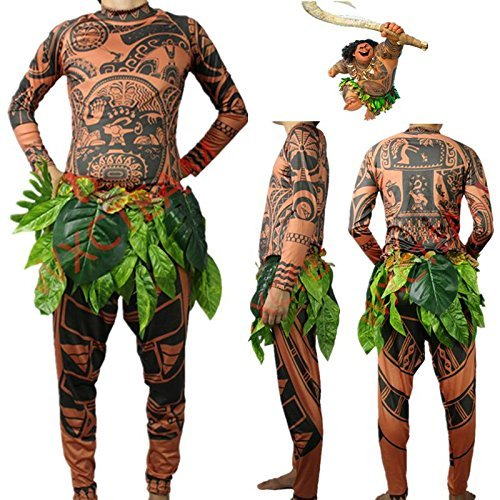 Maui Men Tattoo T-Shirt/Pants Set Tribal Imprint Tee & Trousers Moana Tattoo 2 Pieces Celebration Costume Party Wearing Halloween Cosplay, Comfy Long Sleeve, Adult Unisex L XL, Brown (Brown, M) -