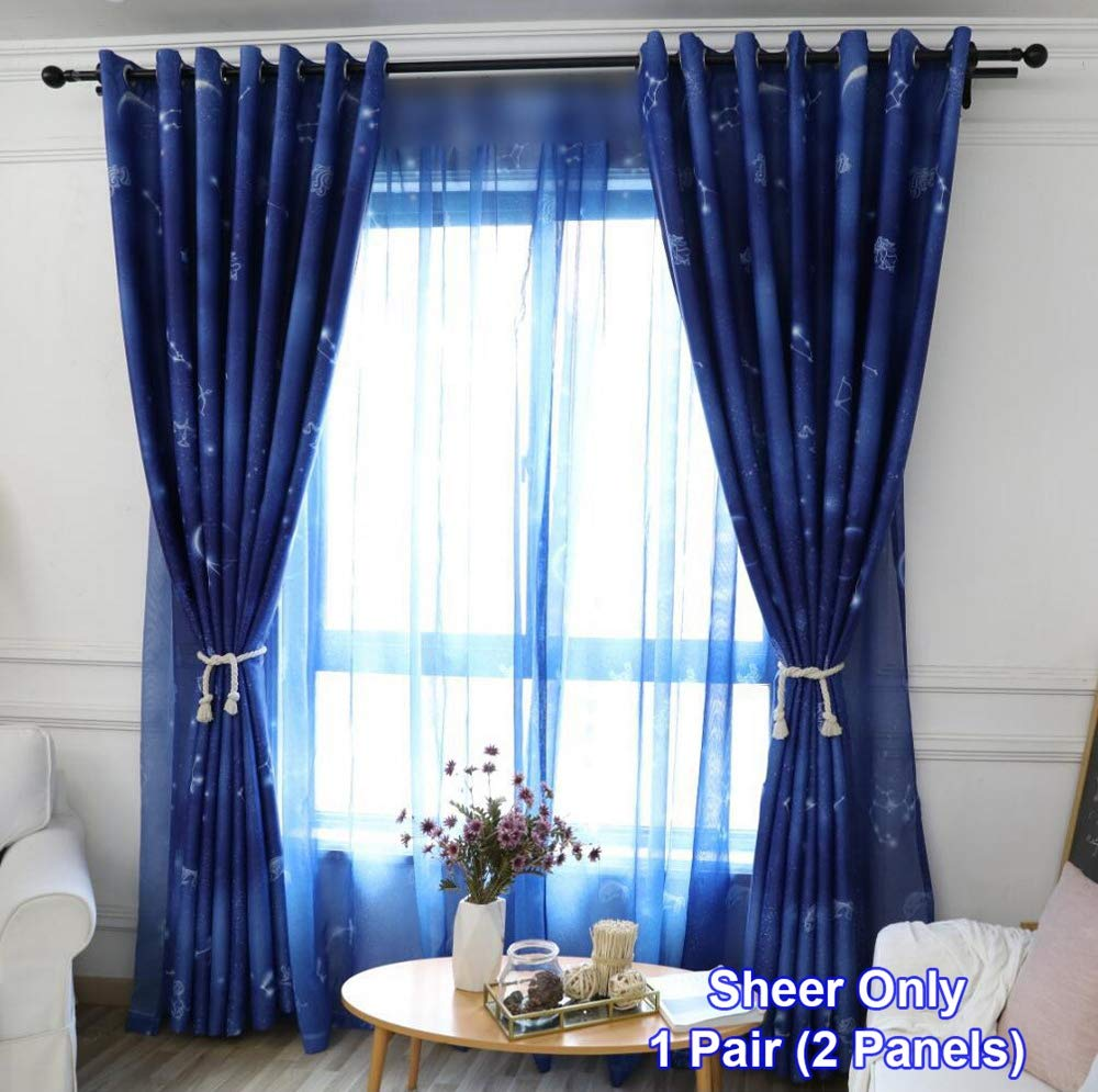 Blue Polyester Sheer Tulle Curtains Dreamlike Nordic Simple Voile for Kids Balcony Rod Pocket Top Window Panels Fancy Constellation and Universe Printed Drape W75 x L84 inch 1 Pair (2 Panels) ZZCZZC